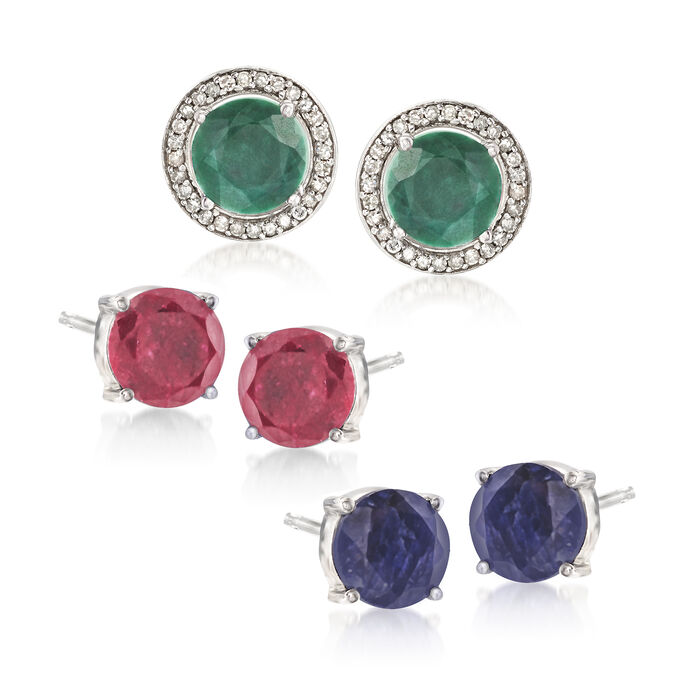 13.40 ct. t.w. Multi-Gemstone Jewelry Set: Three Pairs of Earrings with Earring Jackets in Sterling Silver, , default