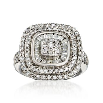 C. 1990 Vintage 1.20 ct. t.w. Diamond Square-Top Ring in 10kt White Gold. Size 6, , default