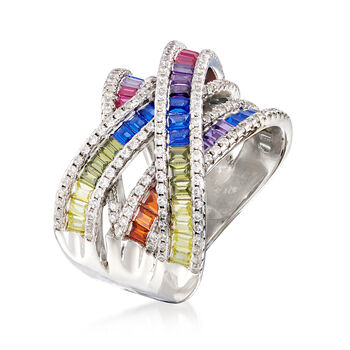 2.35 ct. t.w. Multicolored CZ Highway Ring in Sterling Silver, , default