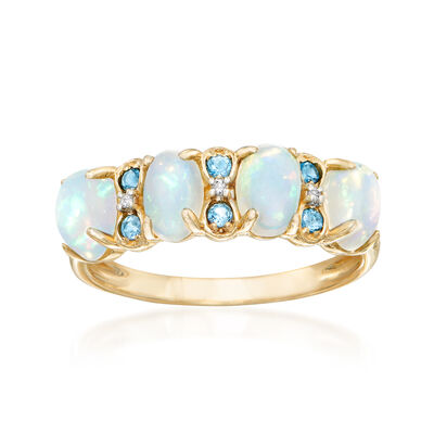 Ethiopian Opal and .10 ct. t.w. London Blue Topaz Ring with Diamond Accents in 14kt Yellow Gold, , default