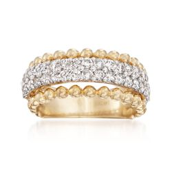 1.35 ct. t.w. Diamond Bead-Edge Ring in 14kt Two-Tone Gold. Size 7, , default