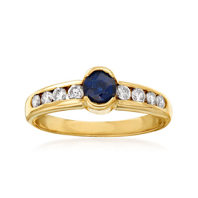 C. 1980 Vintage .45 Carat Sapphire and .35 ct. t.w. Diamond Ring in 14kt Yellow Gold