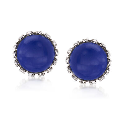 Lapis Round Stud Earrings in Sterling Silver, , default