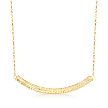 Italian 14kt Yellow Gold Curved Bar Station Necklace, , default