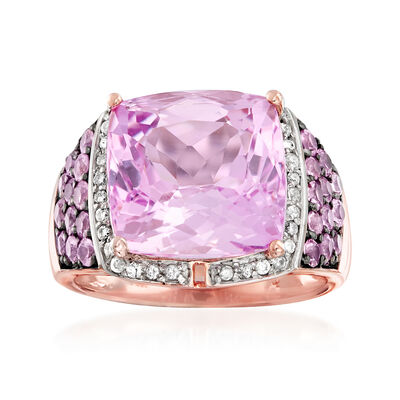 9.50 Carat Kunzite, 1.00 ct. t.w. Pink Sapphire and .16 ct. t.w. Diamond Ring in 14kt Rose Gold, , default