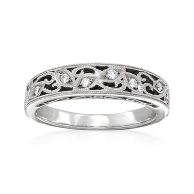 C. 1990 Vintage .10 ct. t.w. Diamond Filigree Ring in 18kt White Gold, , default