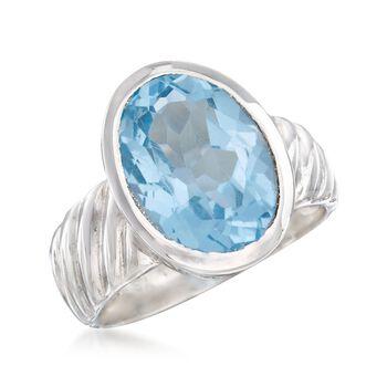 6.75 Carat Bezel-Set Blue Topaz Ring in Sterling Silver