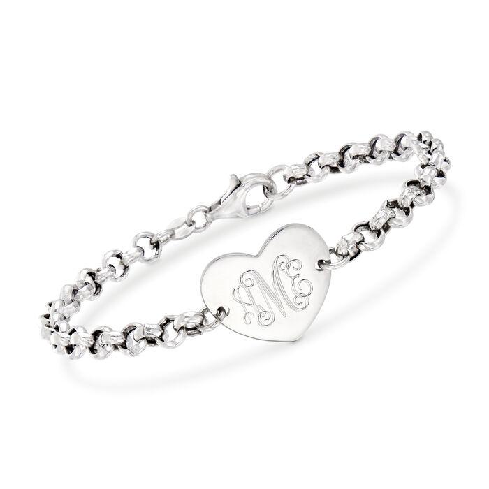 Italian Sterling Silver Personalized Heart Bracelet