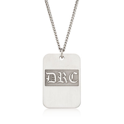 Men's Sterling Silver Monogram Dog Tag Pendant Necklace, , default