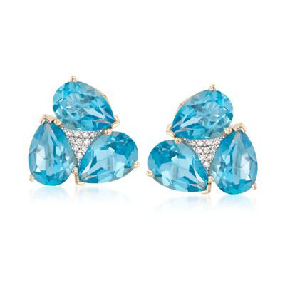 11.00 ct. t.w. Blue Topaz and .10 ct. t.w. Diamond Earrings in 18kt Gold Over Sterling, , default
