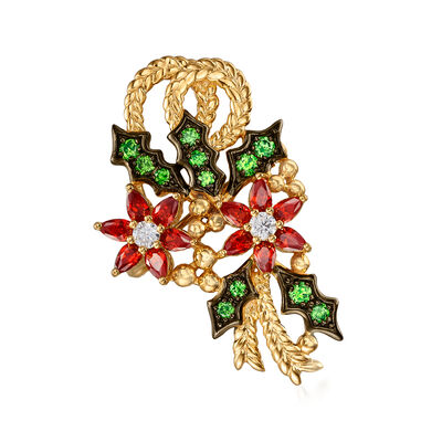1.50 ct. t.w. Simulated Ruby, .45 ct. t.w. Simulated Emerald and .20 ct. t.w. CZ Poinsettia Pin in 18kt Gold Over Sterling, , default