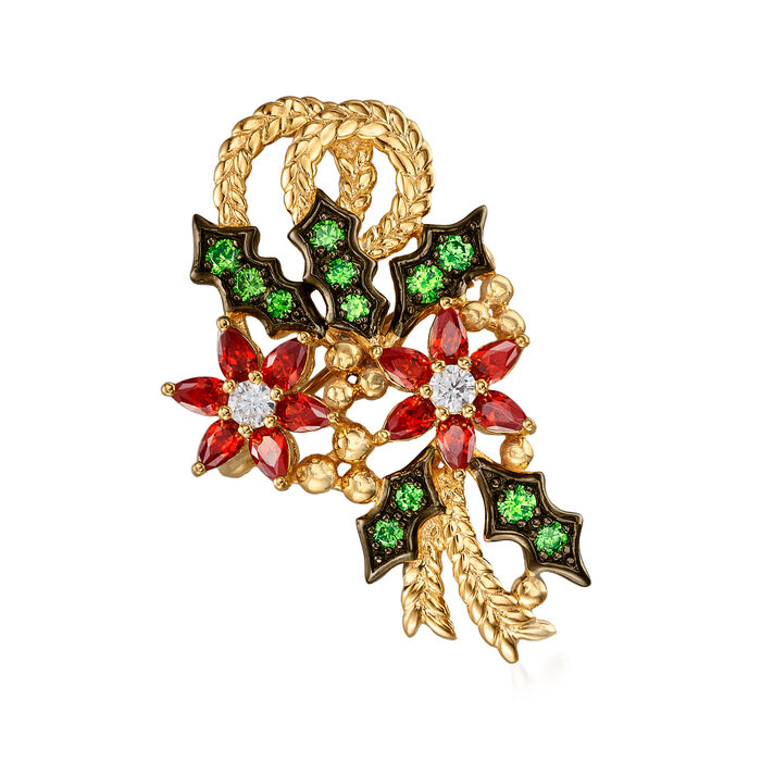1.50 ct. t.w. Simulated Ruby, .45 ct. t.w. Simulated Emerald and .20 ct. t.w. CZ Poinsettia Pin in 18kt Gold Over Sterling