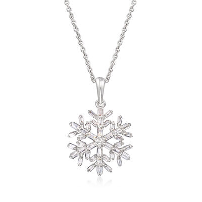.28 ct. t.w. Diamond Snowflake Pendant Necklace in Sterling Silver