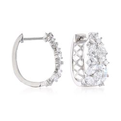 "2.90 ct. t.w. Marquise and Round CZ Floral Hoop Earrings in Sterling Silver. 5/8"", , default"