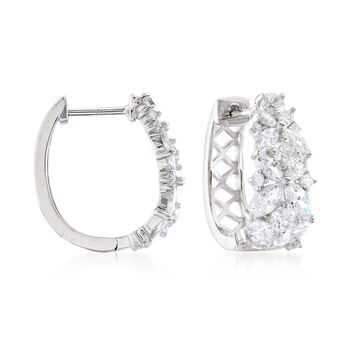 """2.90 ct. t.w. Marquise and Round CZ Floral Hoop Earrings in Sterling Silver. 5/8"""", , default"""