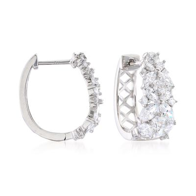 2.90 ct. t.w. Marquise and Round CZ Floral Hoop Earrings in Sterling Silver, , default