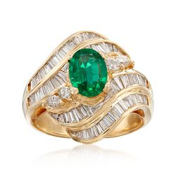 C. 1980 Vintage .90 Carat Emerald and 1.40 ct. t.w. Diamond Ring in 18kt Yellow Gold. Size 6, , default