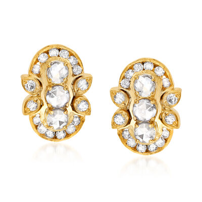 C. 1980 Vintage 1.00 ct. t.w. Diamond Earrings in 14kt Yellow Gold, , default