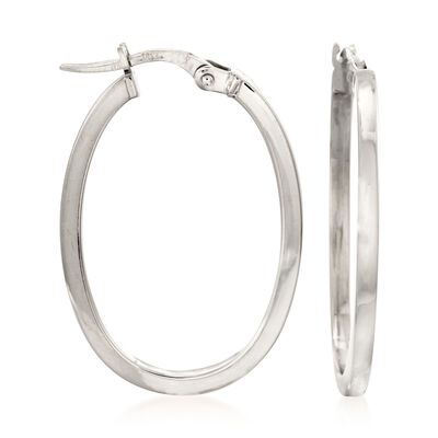 Roberto Coin 18kt White Gold Oval Hoop Earrings, , default