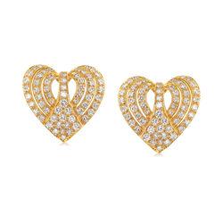 C. 1980 Vintage 3.00 ct. t.w. Diamond Heart Earrings in 18kt Yellow Gold , , default