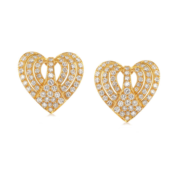 C. 1980 Vintage 3.00 ct. t.w. Diamond Heart Earrings in 18kt Yellow Gold, , default