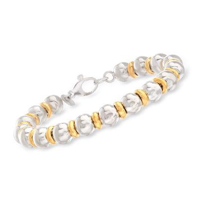 Italian Two-Tone Sterling Silver Bead Bracelet, , default