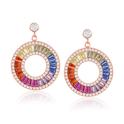 Simulated Sapphire and 1.30 ct. t.w. CZ Rainbow Drop Earrings in 18kt Rose Gold Over Sterling
