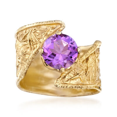 1.50 Carat Amethyst Bypass Ring in 18kt Gold Over Sterling, , default