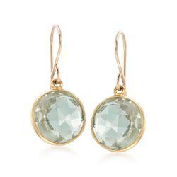 7.00 ct. t.w. Bezel-Set Green Prasiolite Drop Earrings in 14kt Gold Over Sterling, , default