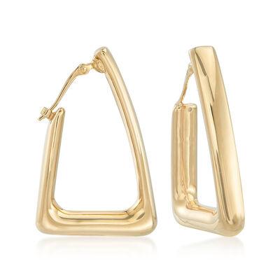 14kt Yellow Gold Triangle Hoop Earrings, , default