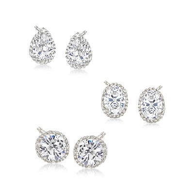 4.60 ct. t.w. CZ Jewelry Set: Three Pairs of Stud Earrings in Sterling Silver, , default