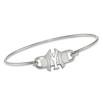 """Sterling Silver MLB New York Yankees Small Center Wire Bangle Bracelet. 7"""", , default"""