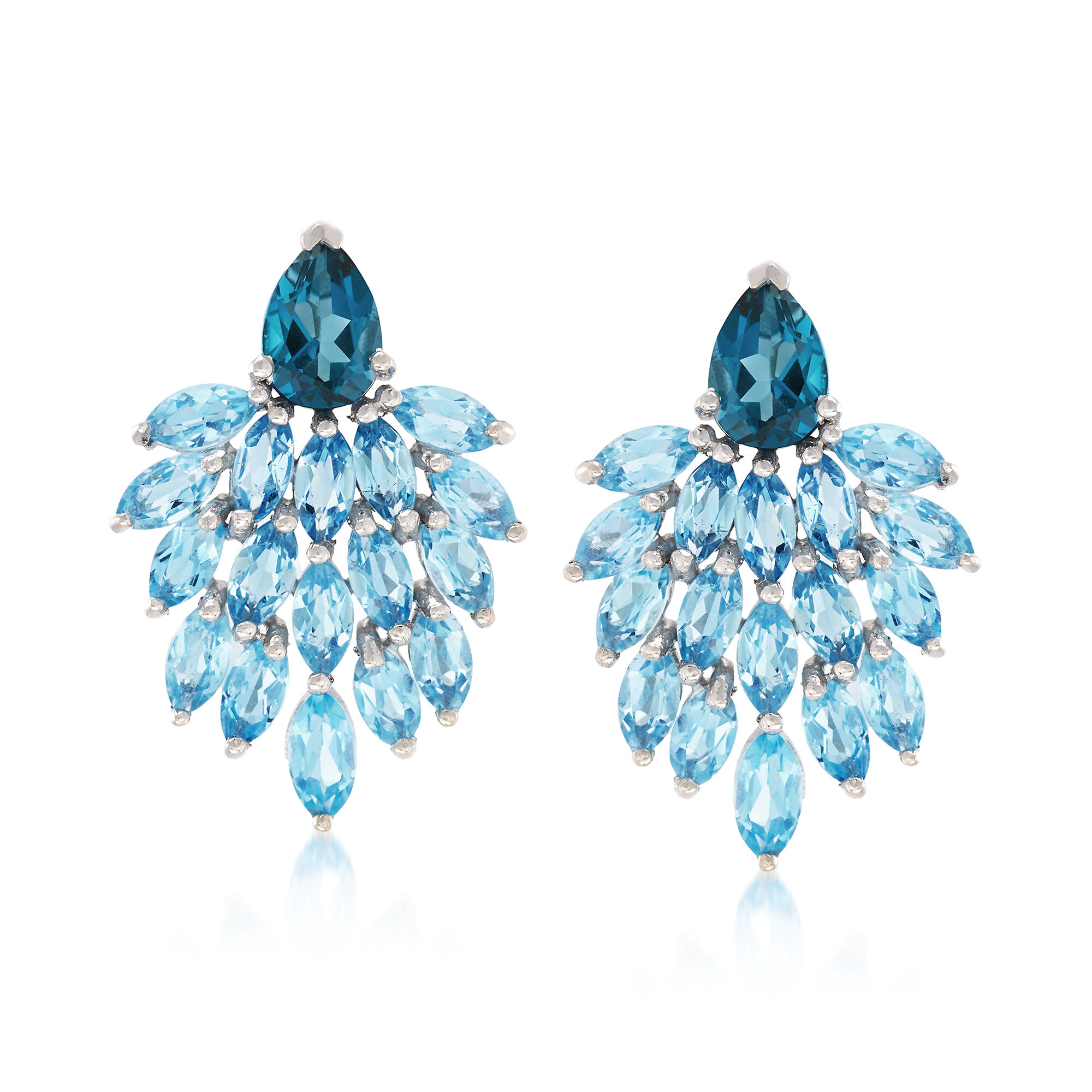 3 1//3 ct Natural Multi Blue Topaz Front-Back Earrings in Sterling Silver