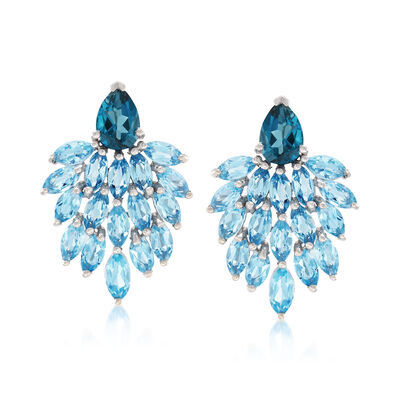 7.20 ct. t.w. Blue Topaz Drop Earrings in Sterling Silver