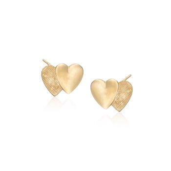 Child's 14kt Yellow Gold Double Heart Earrings, , default