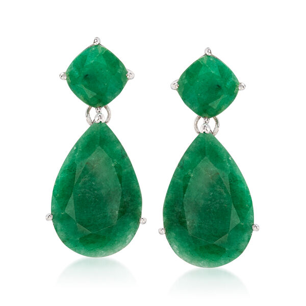 19.20 ct. t.w. Emerald Drop Earrings in Sterling Silver #559226