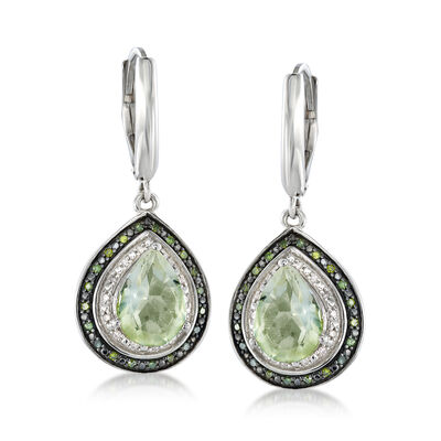 3.60 ct. t.w. Green Prasiolite and .18 ct. t.w. Diamond Pear-Shaped Drop Earrings, , default