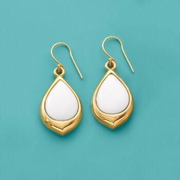 11x15mm White Agate Teardrop Earrings in 14kt Yellow Gold, , default