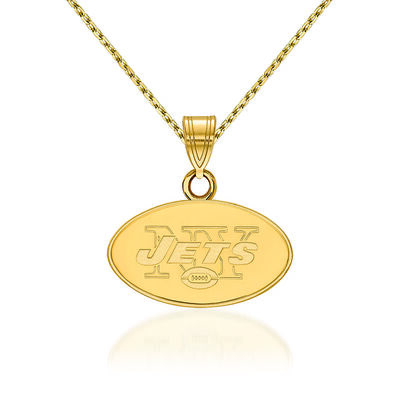 14kt Yellow Gold NFL New York Jets Small Pendant Necklace. 18""