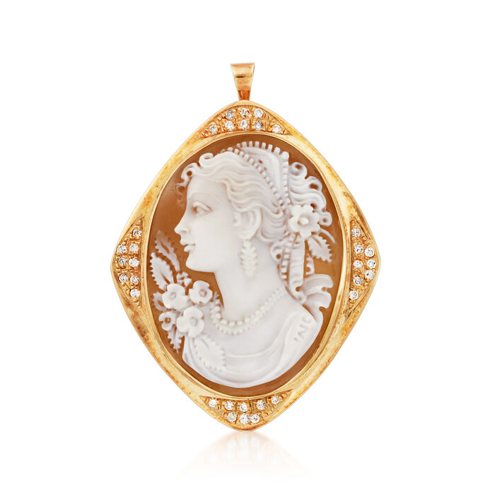 C. 1970 Vintage Pink Shell Cameo and .50 ct. t.w. Diamond Pin/Pendant in 18kt Yellow Gold