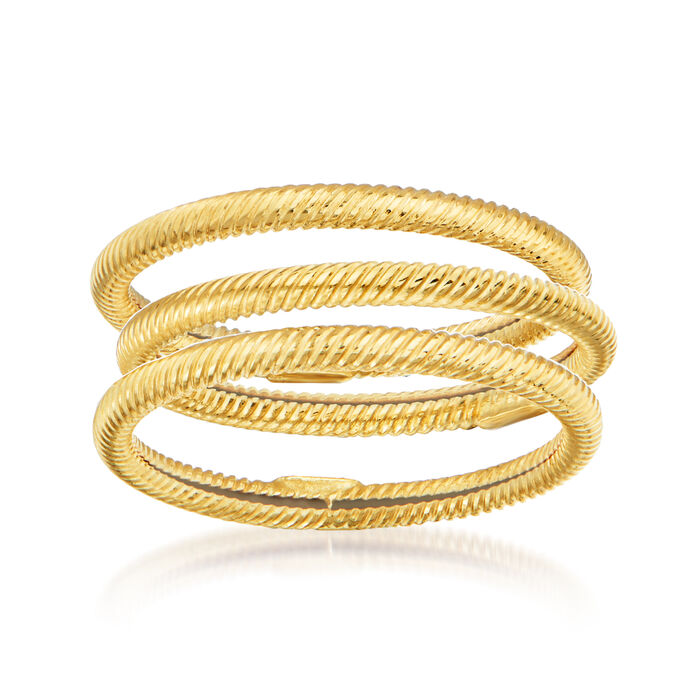 18kt Yellow Gold Jewelry Set: Three Roped Rings, , default
