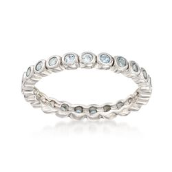 2.40 ct. t.w. Bezel-Set Blue Topaz Eternity Band in Sterling Silver. Size 9, , default