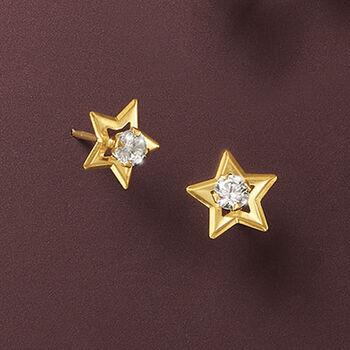 .20 ct. t.w. CZ Star Stud Earrings in 14kt Yellow Gold, , default