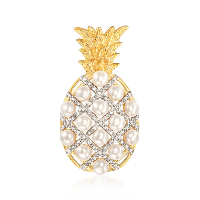 3.5-4mm Cultured Pearl and .15 ct. t.w. Diamond Pineapple Pendant in 18kt Gold Over Sterling, , default