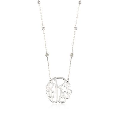 .18 ct. t.w. Diamond Station Monogram Necklace in Sterling Silver, , default