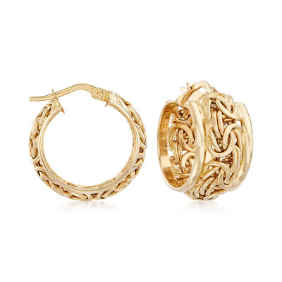 14kt Yellow Gold Byzantine Hoop Earrings, , default