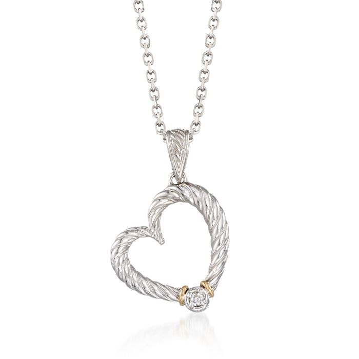 "Phillip Gavriel ""Italian Cable"" Diamond-Accented Heart Pendant Necklace in Sterling Silver and 18kt Gold. 18"", , default"
