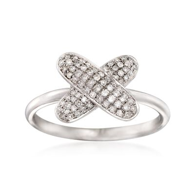 .23 ct. t.w. Pave Diamond X Ring in 14kt White Gold, , default