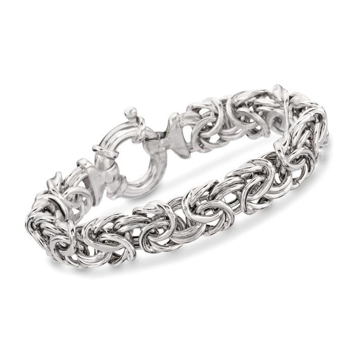 Italian Sterling Silver Large Byzantine Bracelet