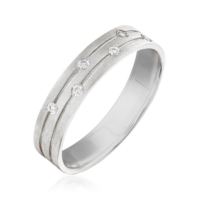 14kt White Gold Ring with Diamond Accents